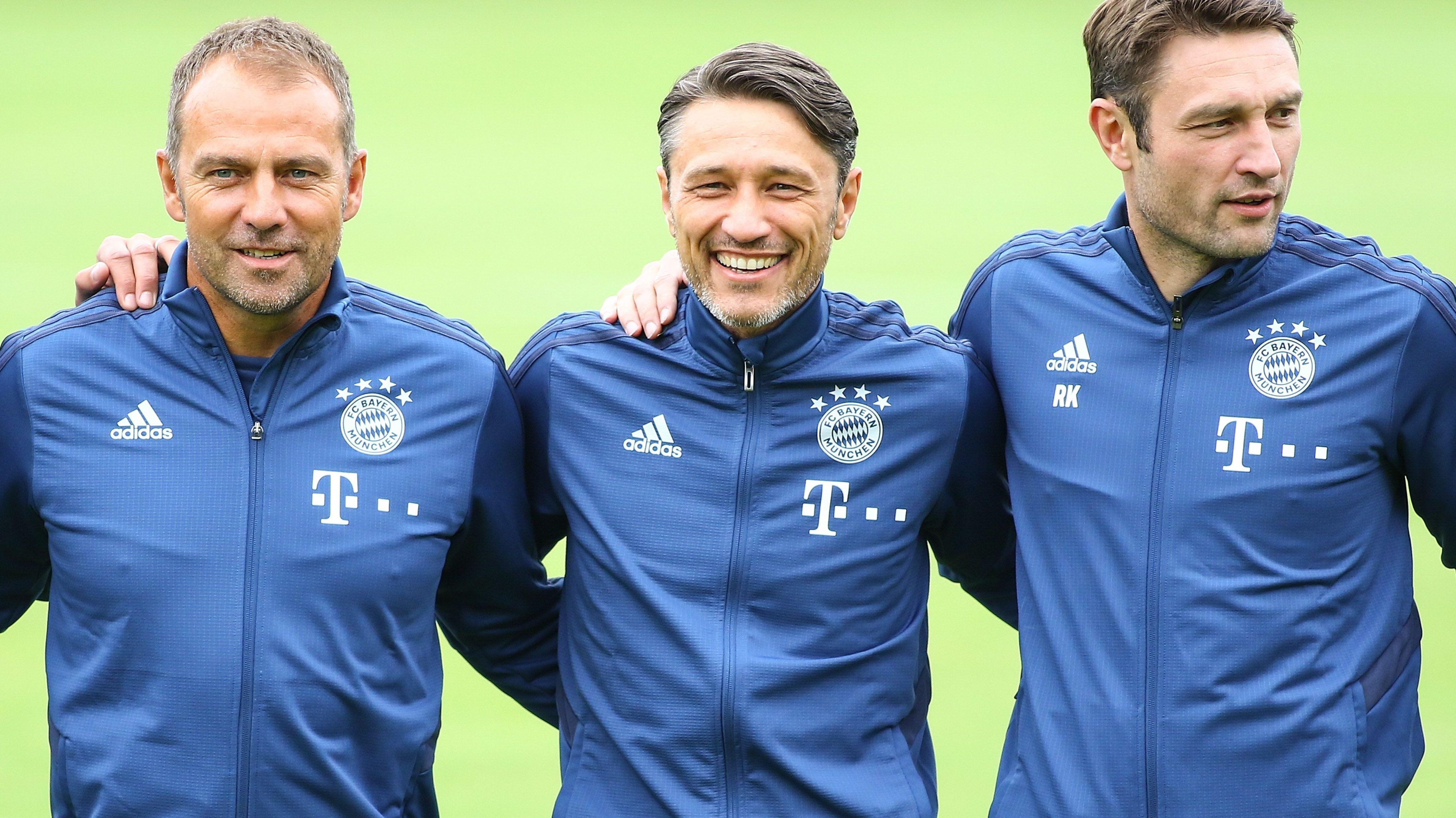 Das Trainerteam: Niko Kovac (M.), sein Bruder Robert (r.) und der neue Co-Trainer Hansi Flick