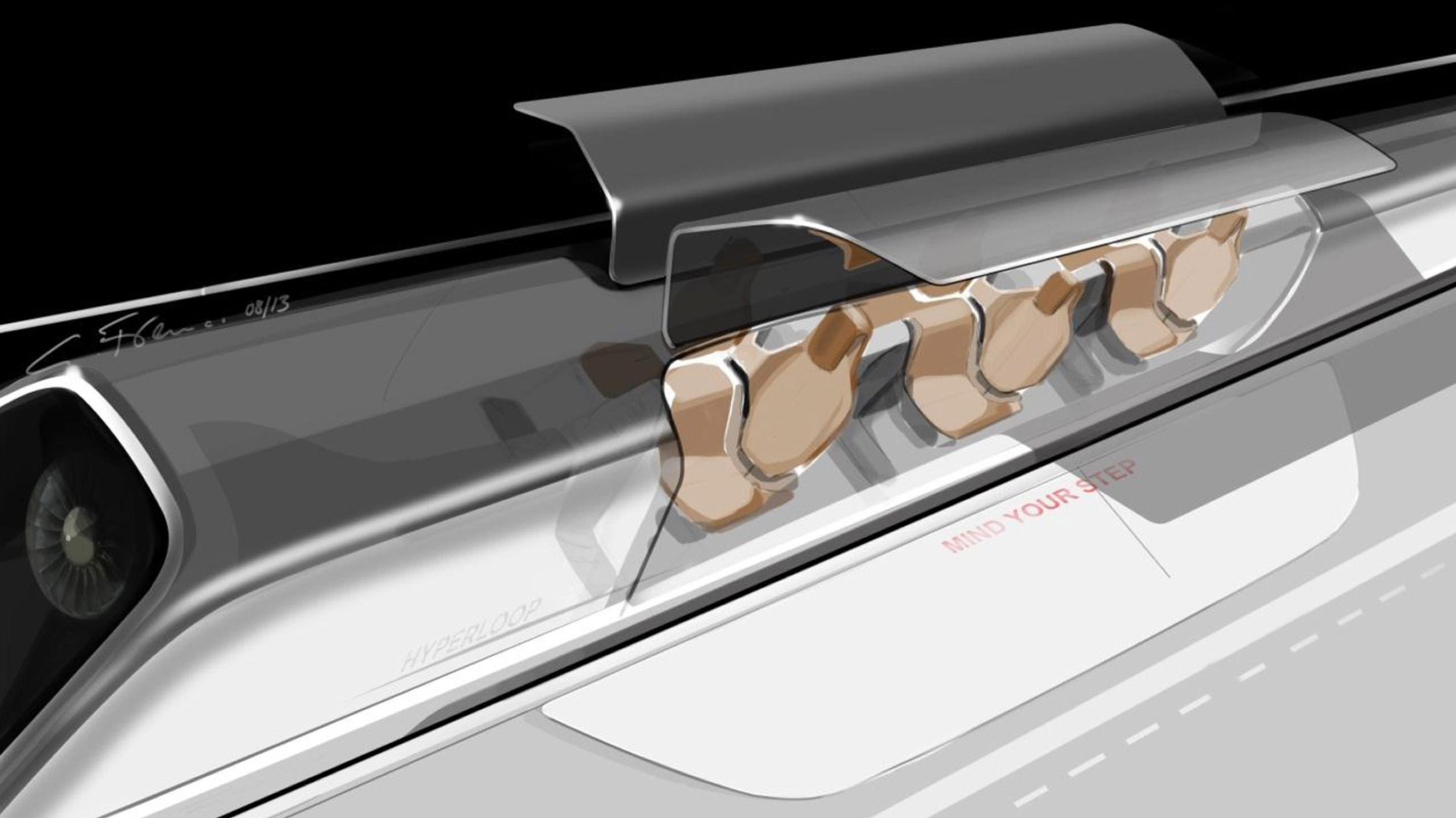 Konzeptzeichnung einer Hyperloop-Kapsel mit Sitzplätzen für den Personenverkehr