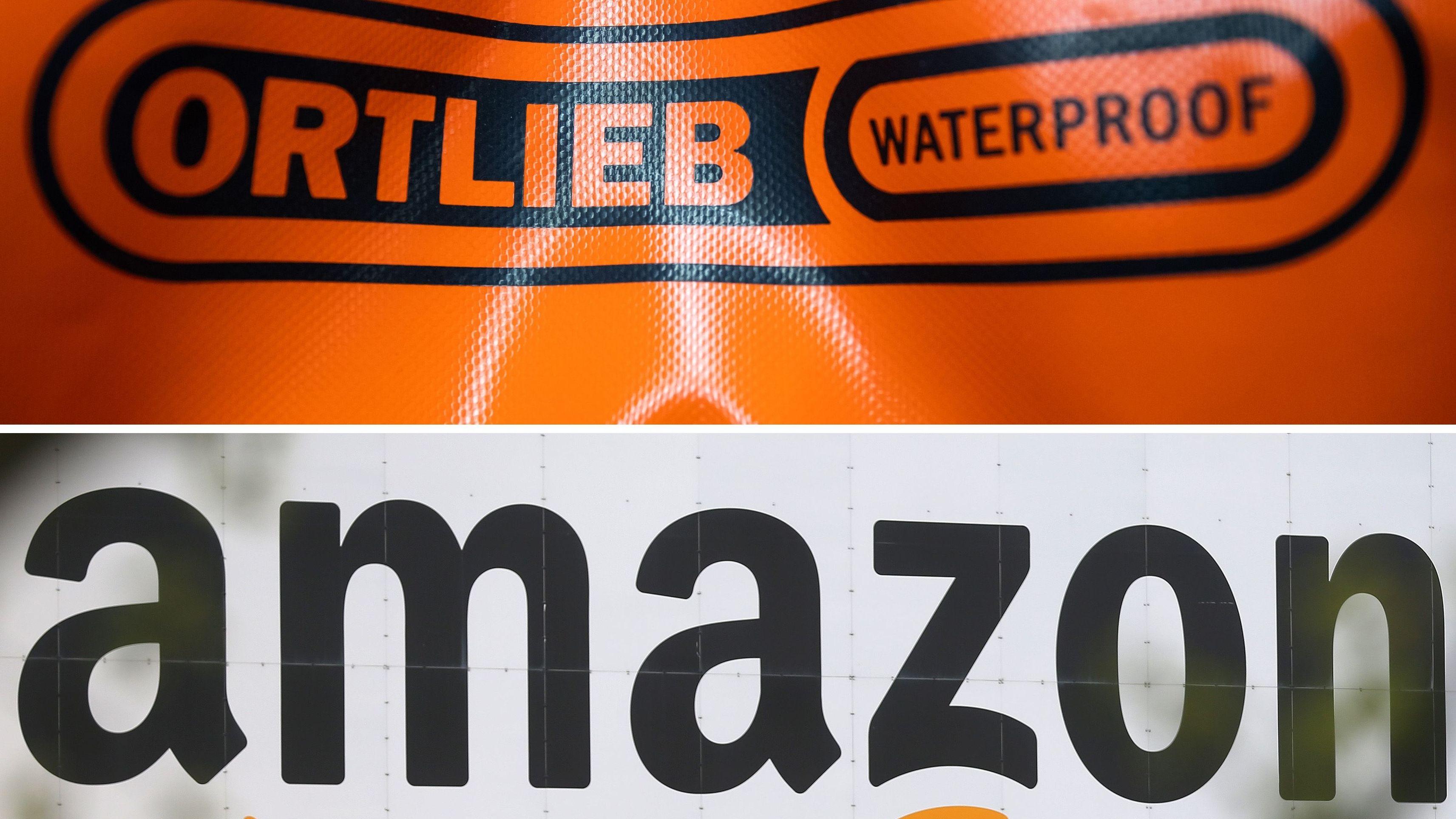 Die Bildkombo zeigt das Logo des Wasserdichten Fahrradtaschen- und Rucksack-Herstellers Ortlieb (oben) und das Logo von Amazon