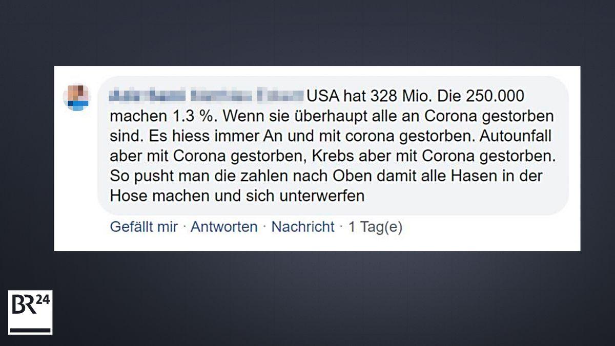 Kommentar auf der Facebook-Seite von BR24