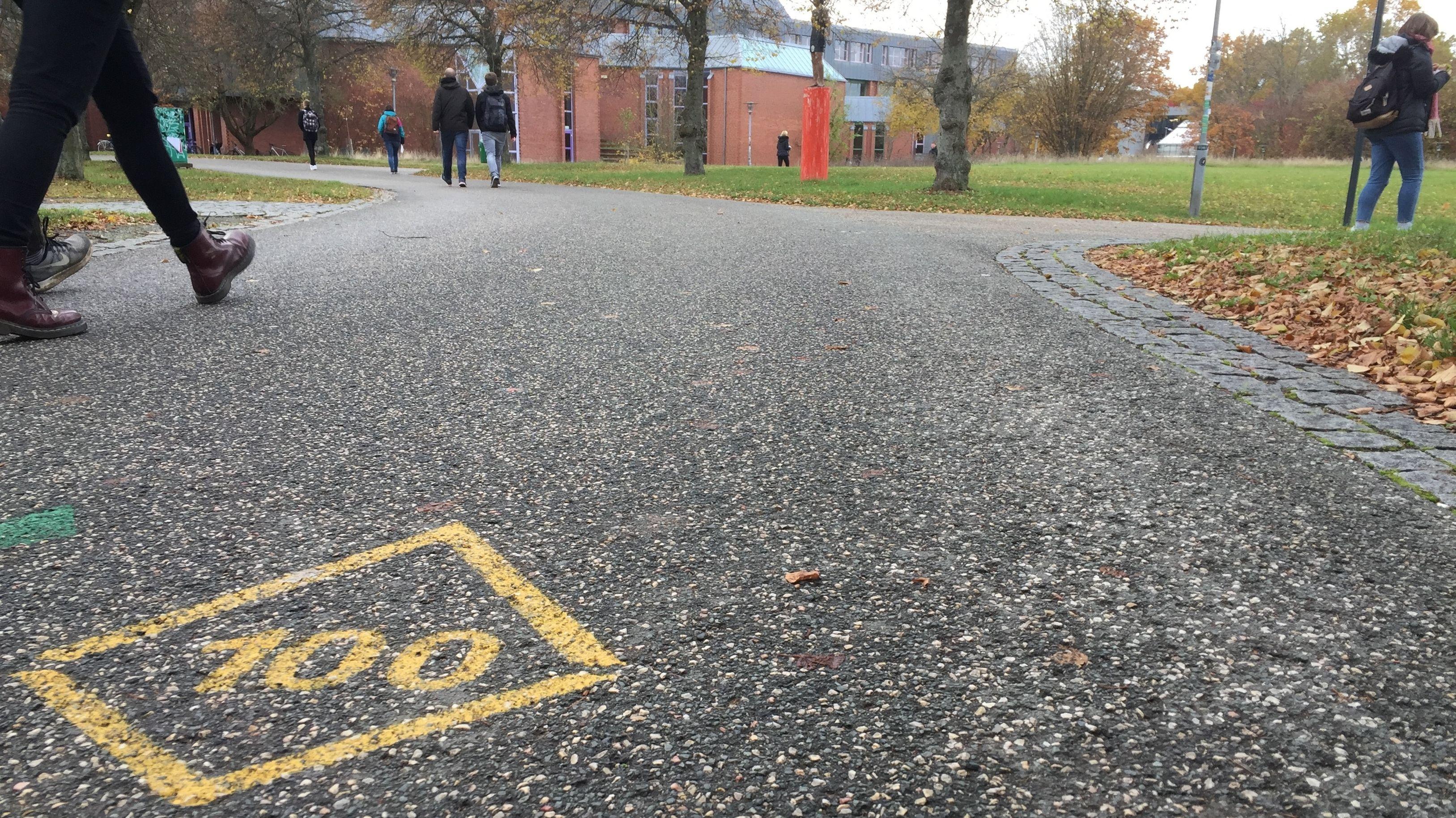 Die Zahl Hundert ist in gelber Schrift auf einem geteerten Weg zur Uni Bayreuth gezeichnet.