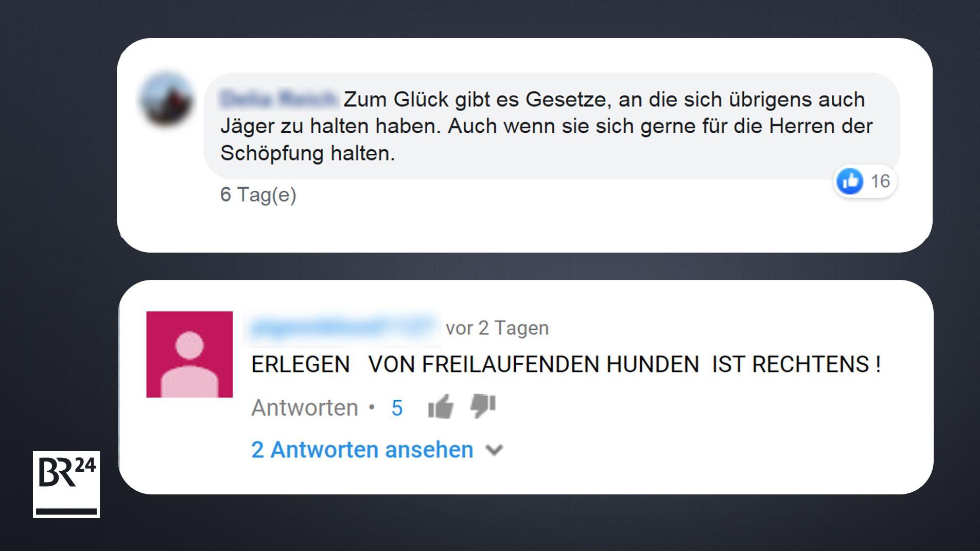 Facebook-Kommentar und Youtube-Kommentar