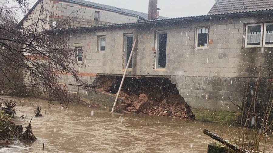 Hochwasser an der Sinn in Mittelsinn (Lkr. Main-Spessart)