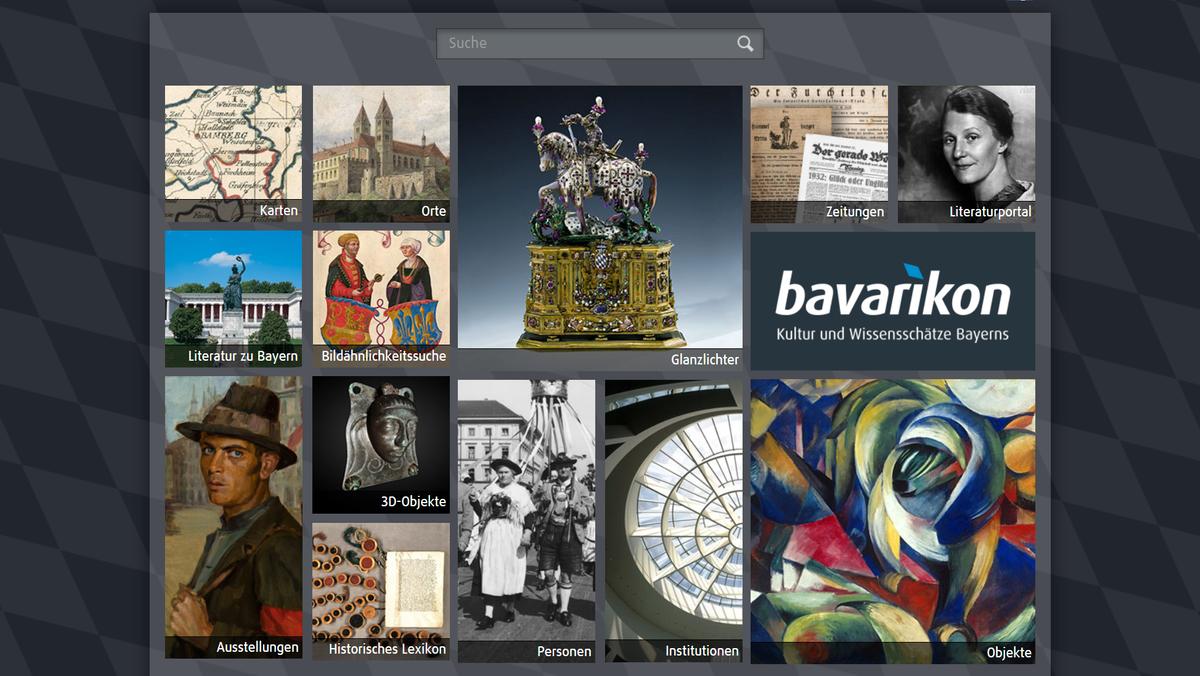 "Screenshot der Startseite des Landeskulturportal ""bavarikon"""