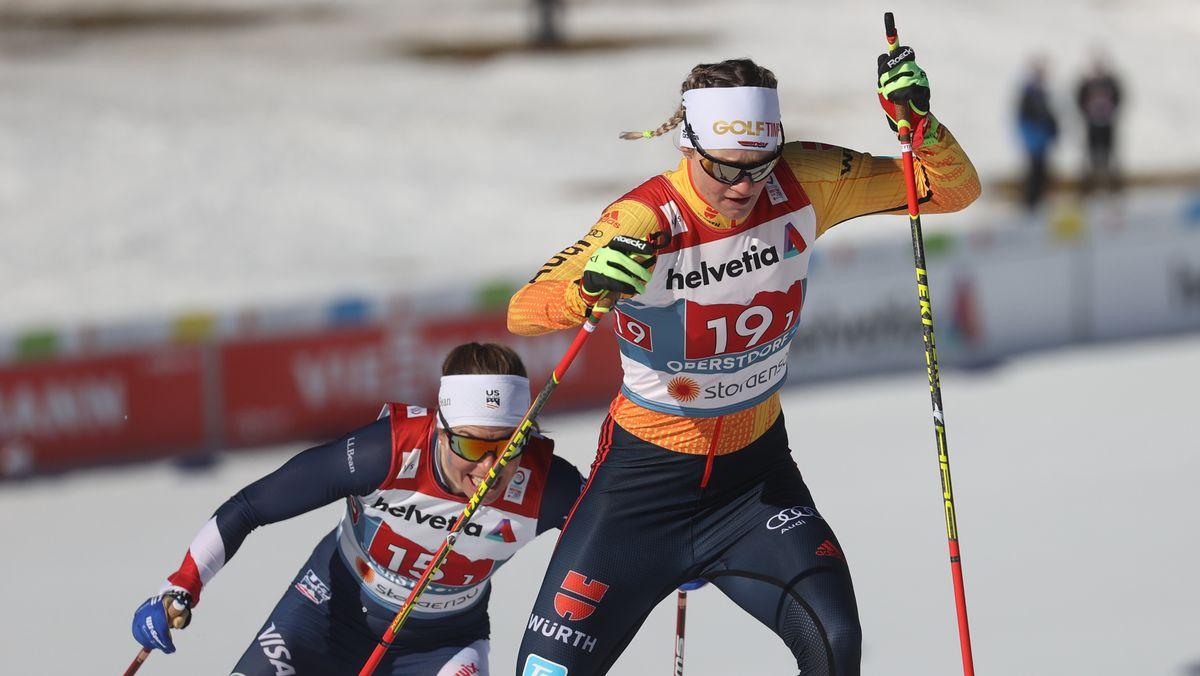 Victoria Karl im Langlauf-Team-Sprint in Oberstdorf
