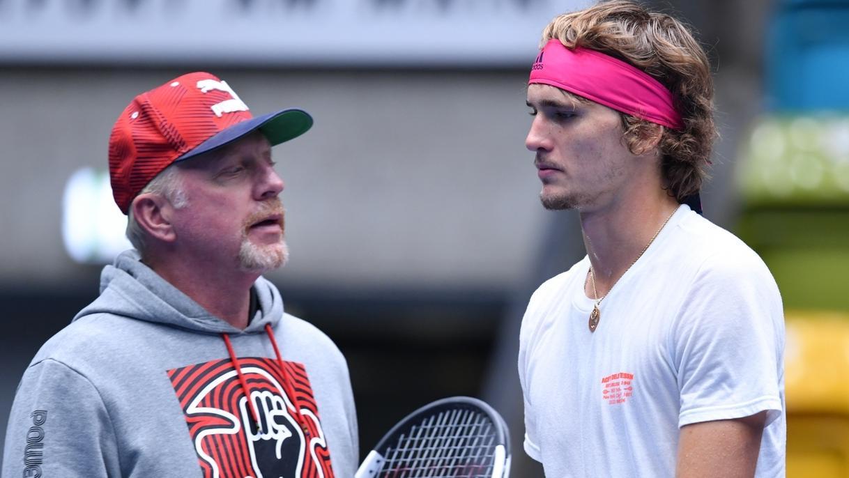 Boris Becker und Alexander Zverev beim Training