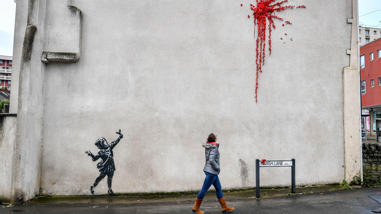 Ein neues Street-Art-Werk des Künstlers Banksy.