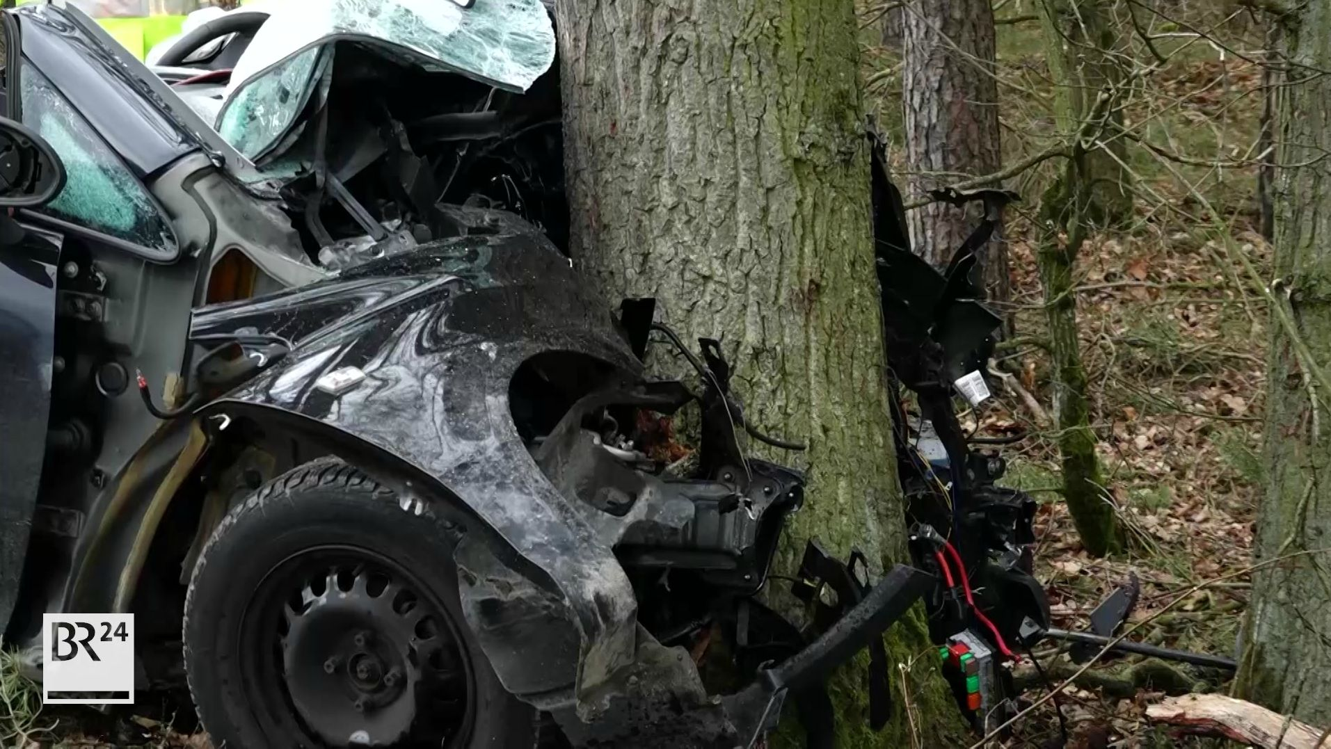 Autowrack, das frontal in einem Baum steckt-