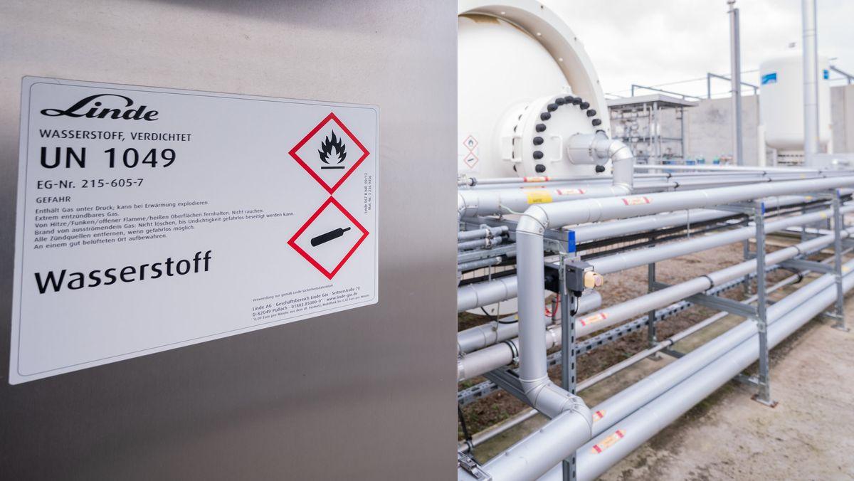 Ein Wasserstofftank von Linde. Er gehört zu einer sogenannten Power-to-Gas-Anlage
