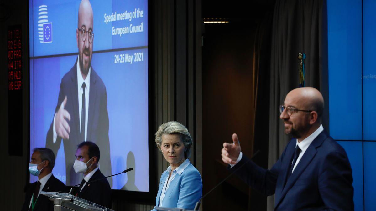 Pressekonferenz von Ratspräsident Charles Michel und Kommissionspräsidentin Ursula von der Leyen.