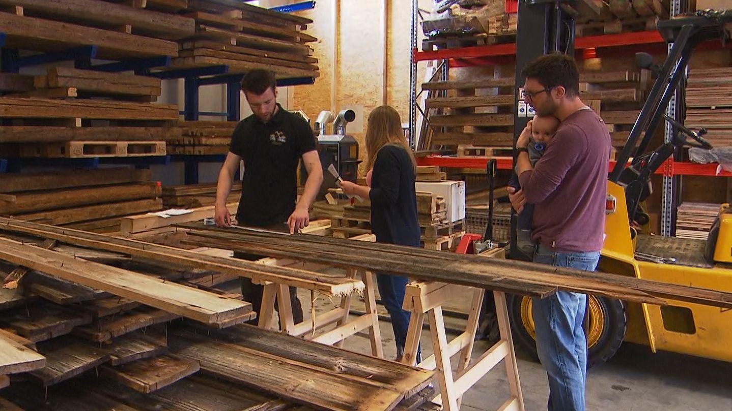 Holzlager in einer Schreinerwerkstatt in Iphofen