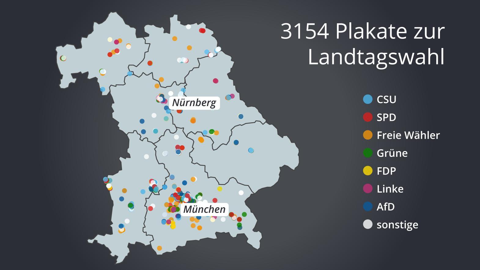 Die Standorte der analysierten Plakate in ganz Bayern.