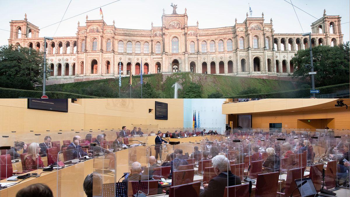 Der Bayerische Landtag von außen und von innen - im Plenarsaal derzeit mit Plexiglasscheiben zum Schutz vor Corona-Infektionen.