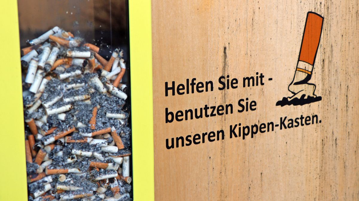 Zigarettenkippen liegen in einem Kippenkasten