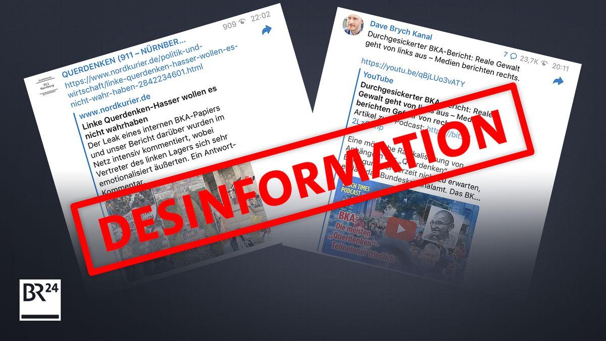 Beispiele für Desinformation über den internen BKA-Bericht in einschlägigen Telegram-Channels