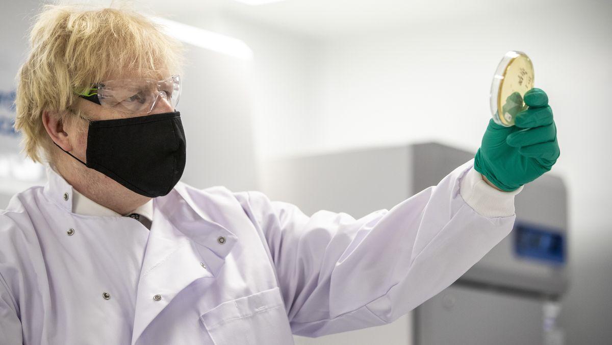 Premier Johnson betrachtet eine Petrischale im Qualitätskontrolllabor, in dem Impfstoffchargen getestet werden.