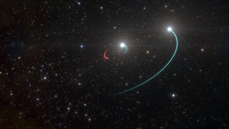 Künstlerische Darstellung des Dreifachsystems mit Schwarzem Loch