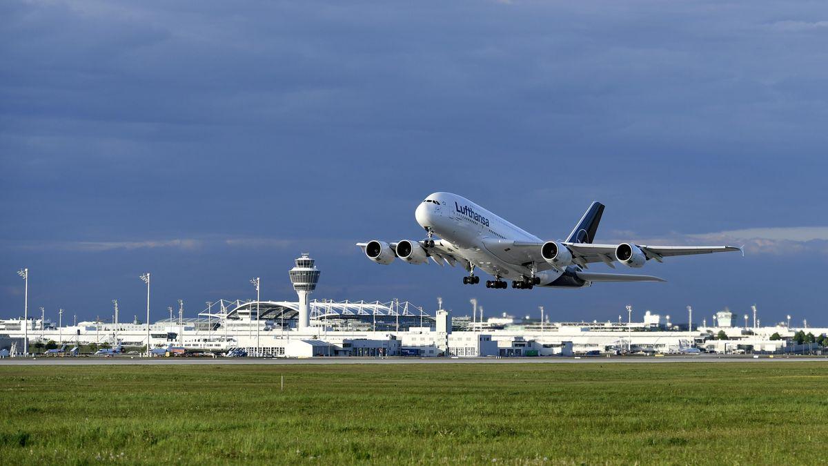 Flugzeug landet am Münchner Flughafen (Symbolbild), im Vordergurnd  Wiese, im Hintergrund bewölkter Himmel