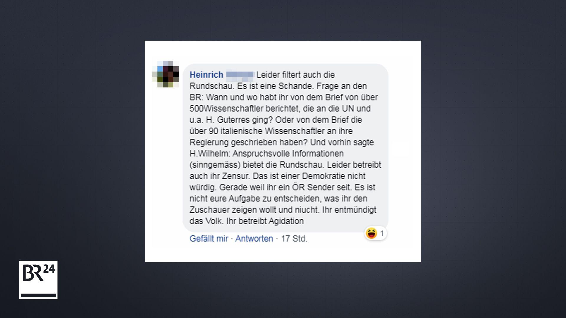 User-Kommentar auf Facebook