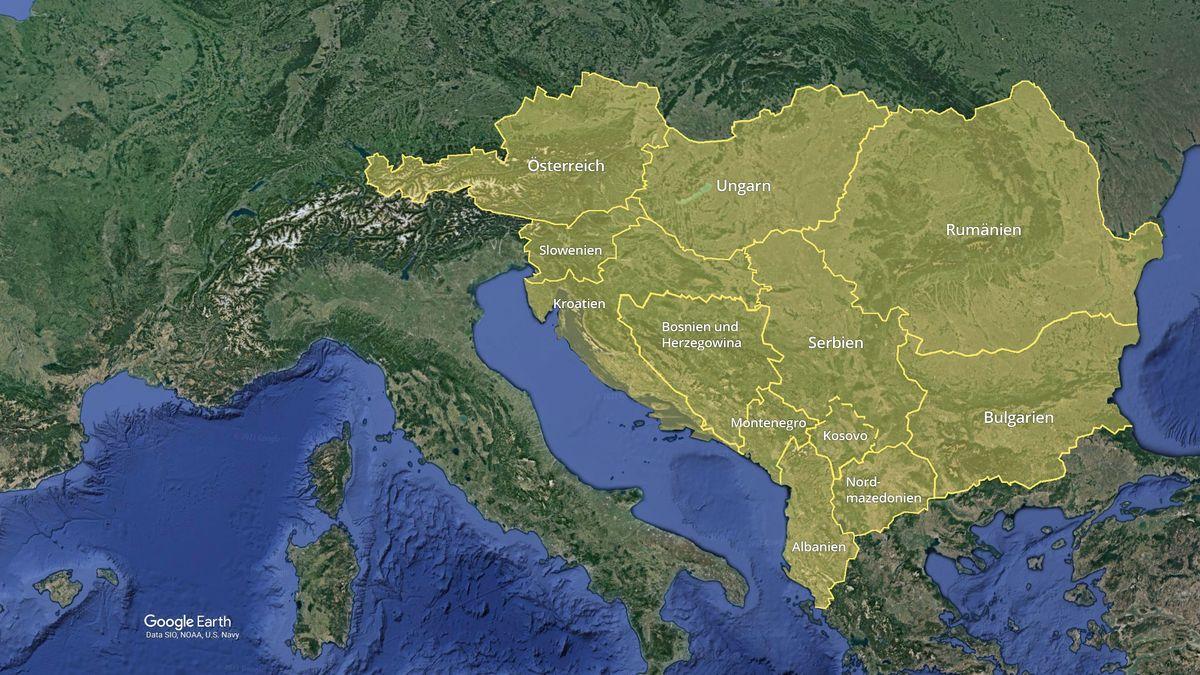 Satellitenkarte Berichtsgebiet ARD-Studios Südosteuropa