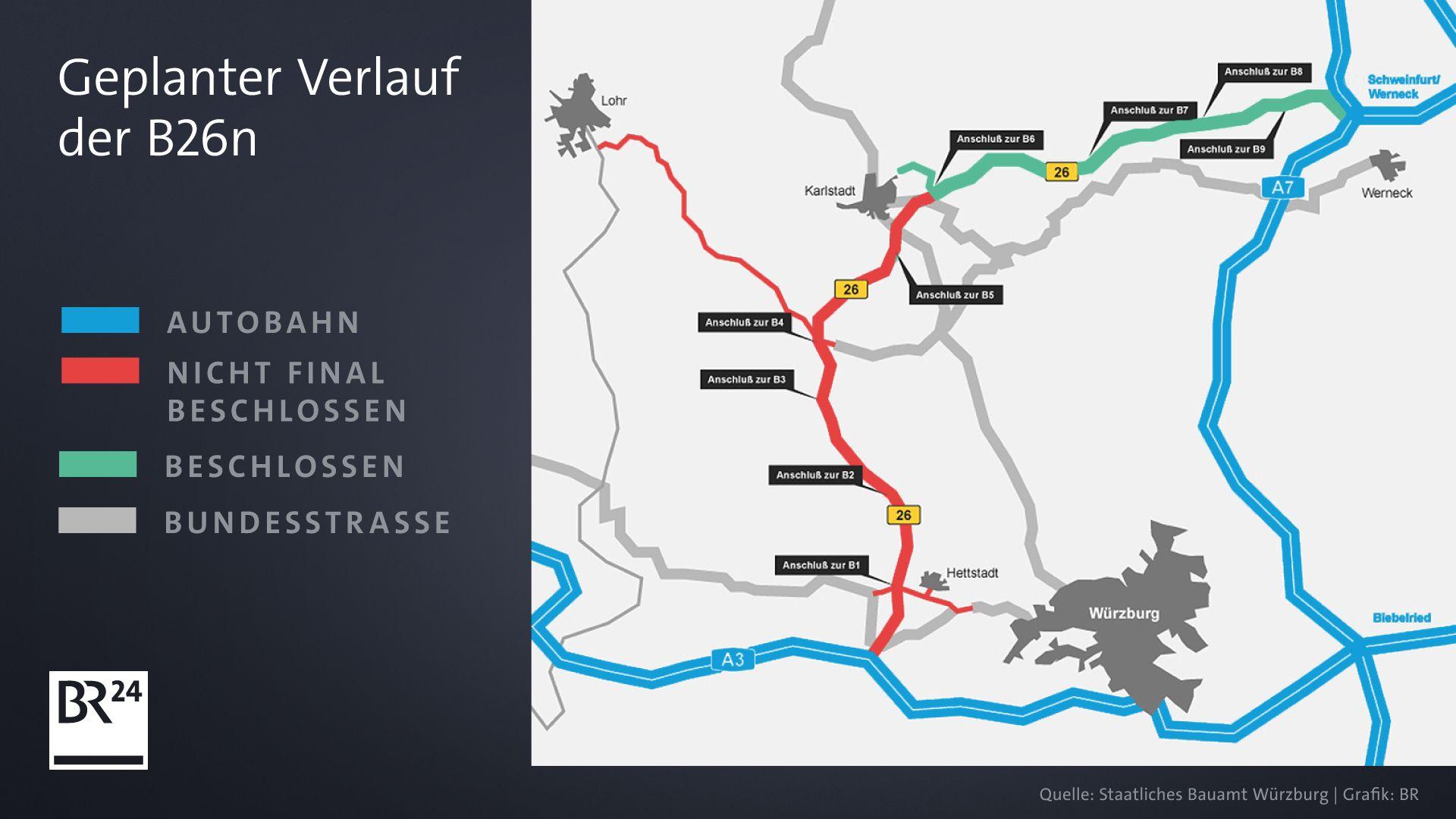 Karte: geplanter Verlauf der B26n