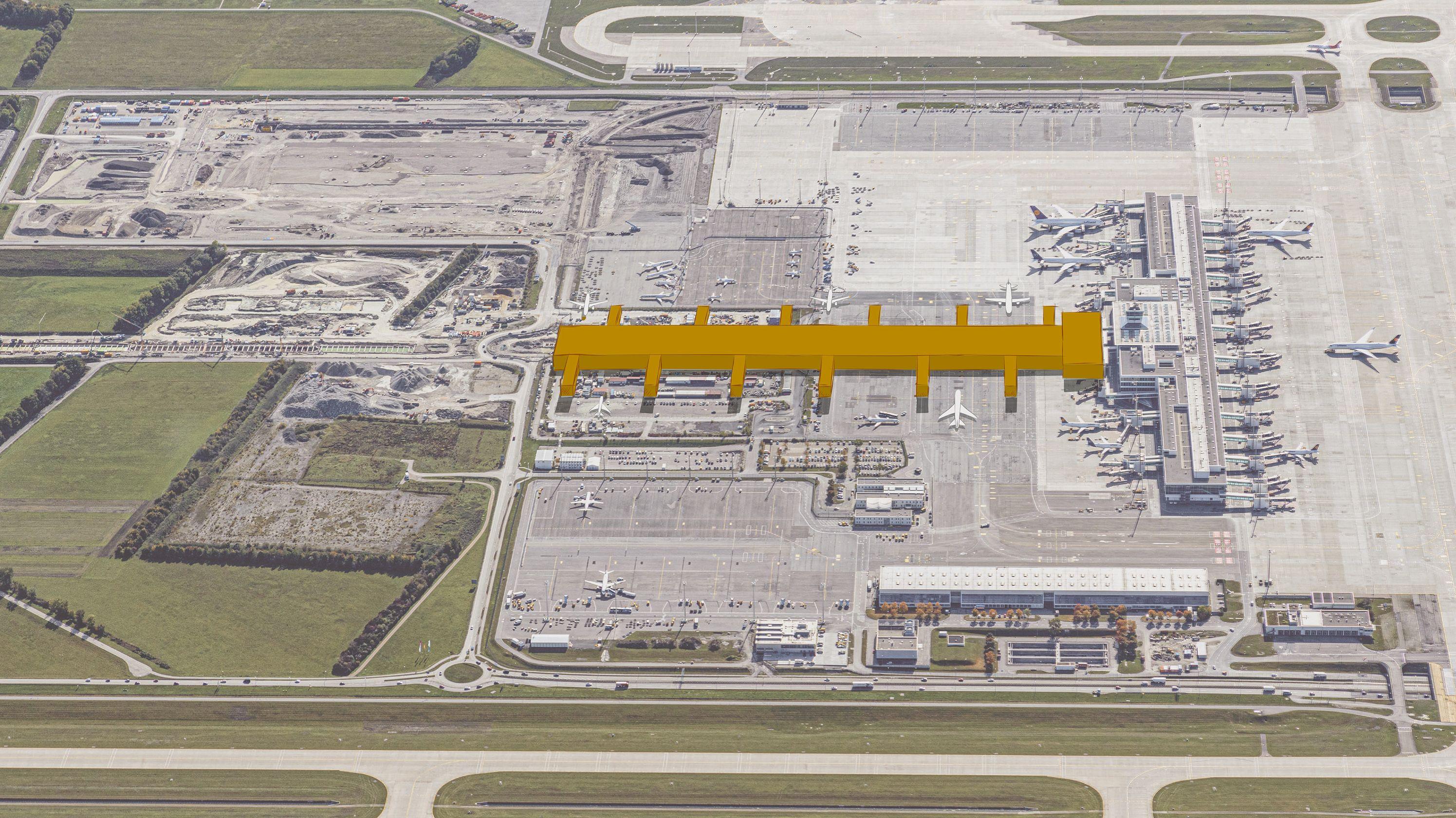 """Das mit dem Terminal 2 verbundene Satellitengebäude soll durch den sogenannten """"T-Stiel"""" erweitert werden"""