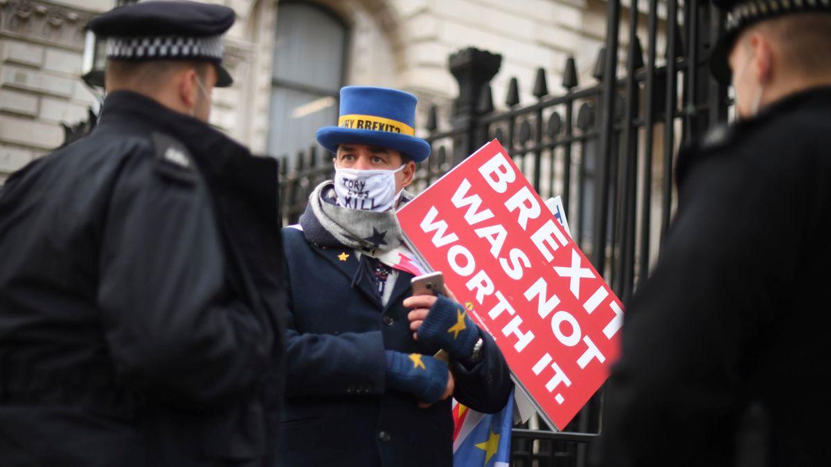 Polizisten sprechen mit dem Anti-Brexit-Protestler Steve Bray (M) vor der Downing Street.
