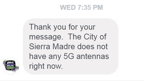 Antwort der City of Sierra Madre auf Facebook