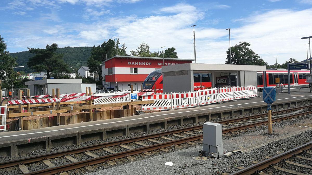Baustelle auf dem Bahnhof in Miltenberg