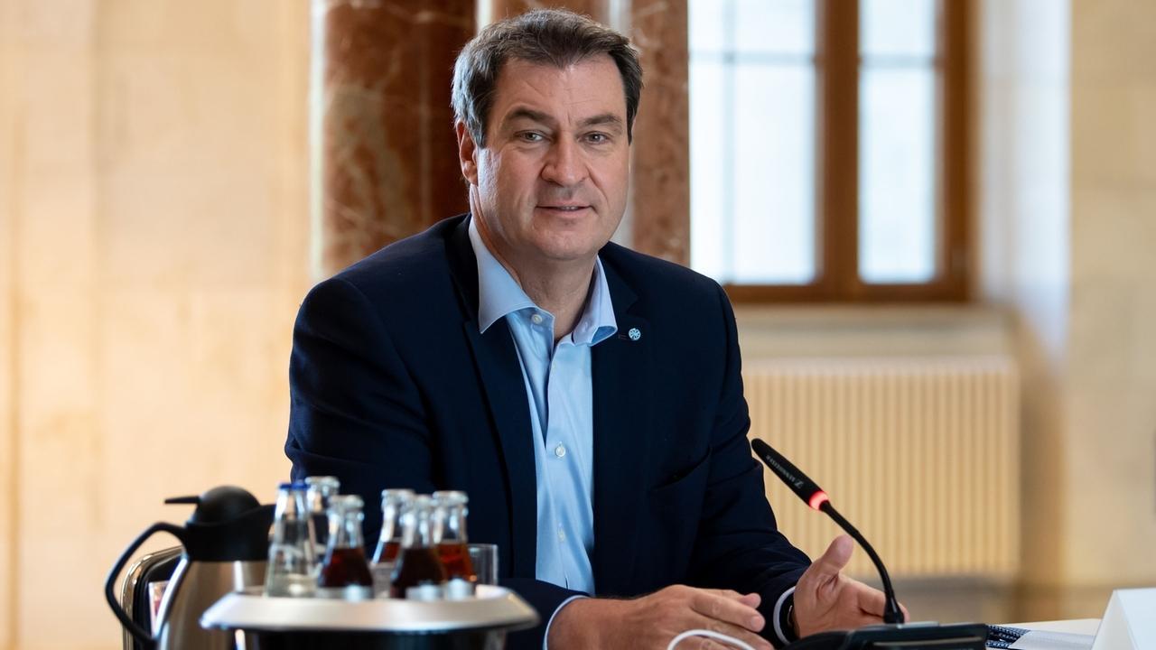 Ministerpräsident Söder bei der Kabinettssitzung in München