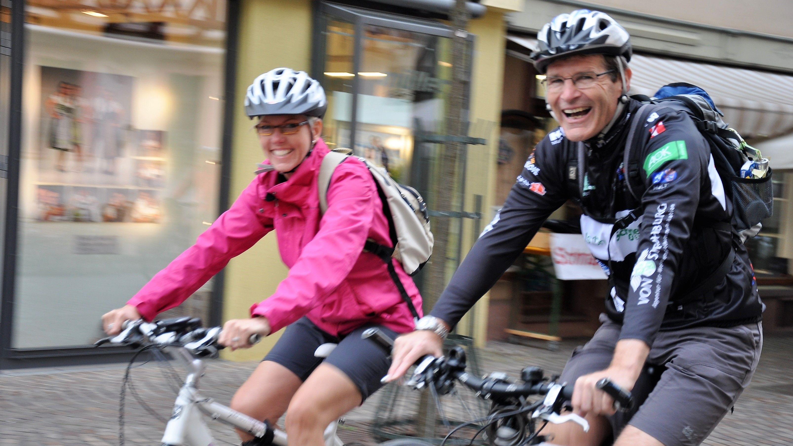 Landrat Thomas Schiebel bei einer der Fahrradtouren