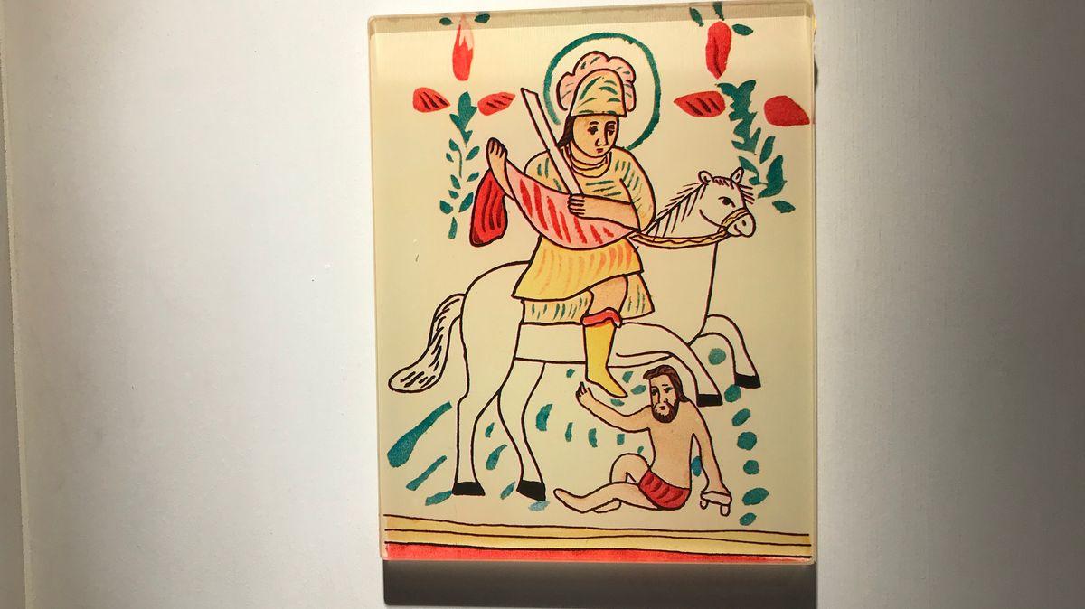 Der Heilige Martin als Motiv in der Hinterglasmalerei