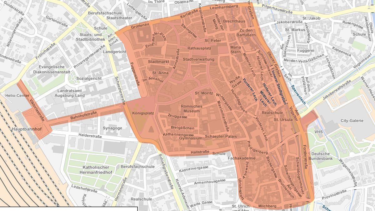 Rot gekennzeichneter Bereich in der Augsburger Innenstadt