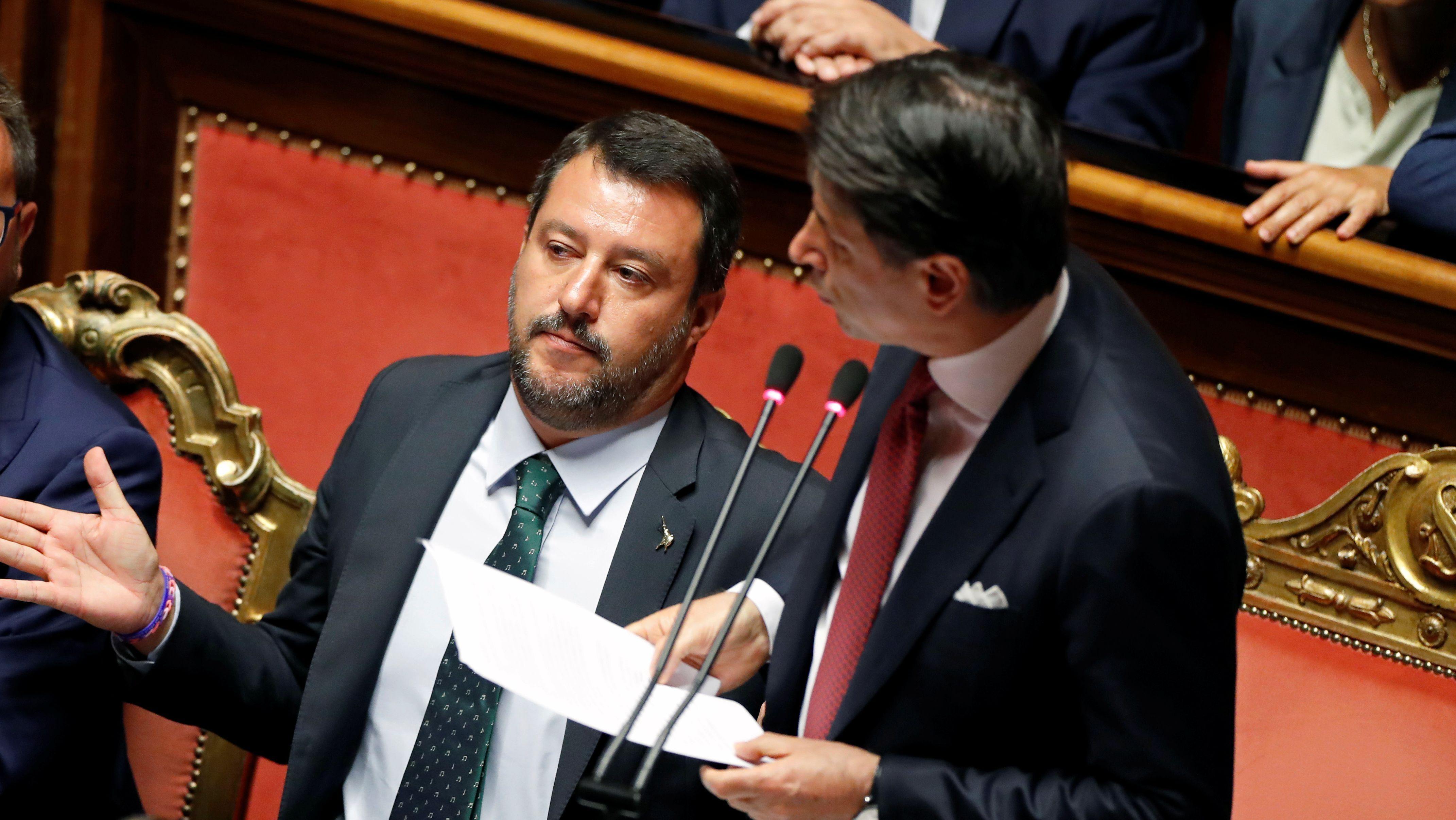 Giuseppe Conte und Innenminister Matteo Salvini im italienischen Parlament