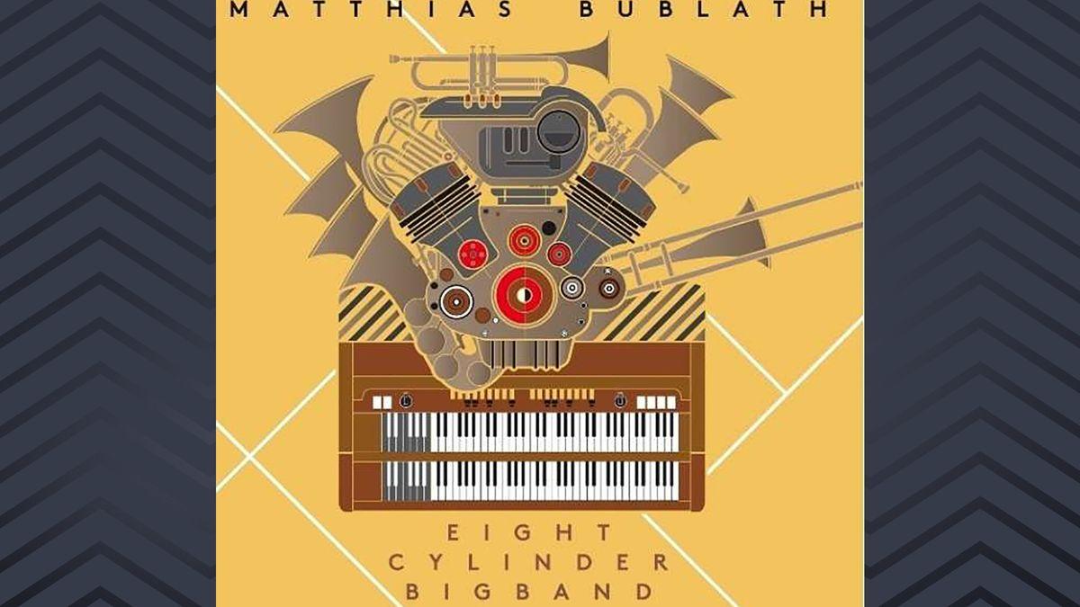 Auf gelbem Hintergrund ist eine reduzierte Grafik eines phantastischen Instruments: aus einer Orgel-Klaviatur wächst nach oben ein Gebilde aus verschiedenen Blasinstrumenten heraus. Quasi eine ganze Bigband in einem Instrument.