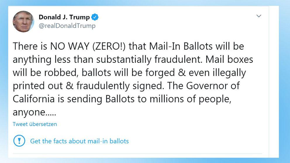 Tweet von Donald Trump zum Thema Wahlbetrug/Briefwahl