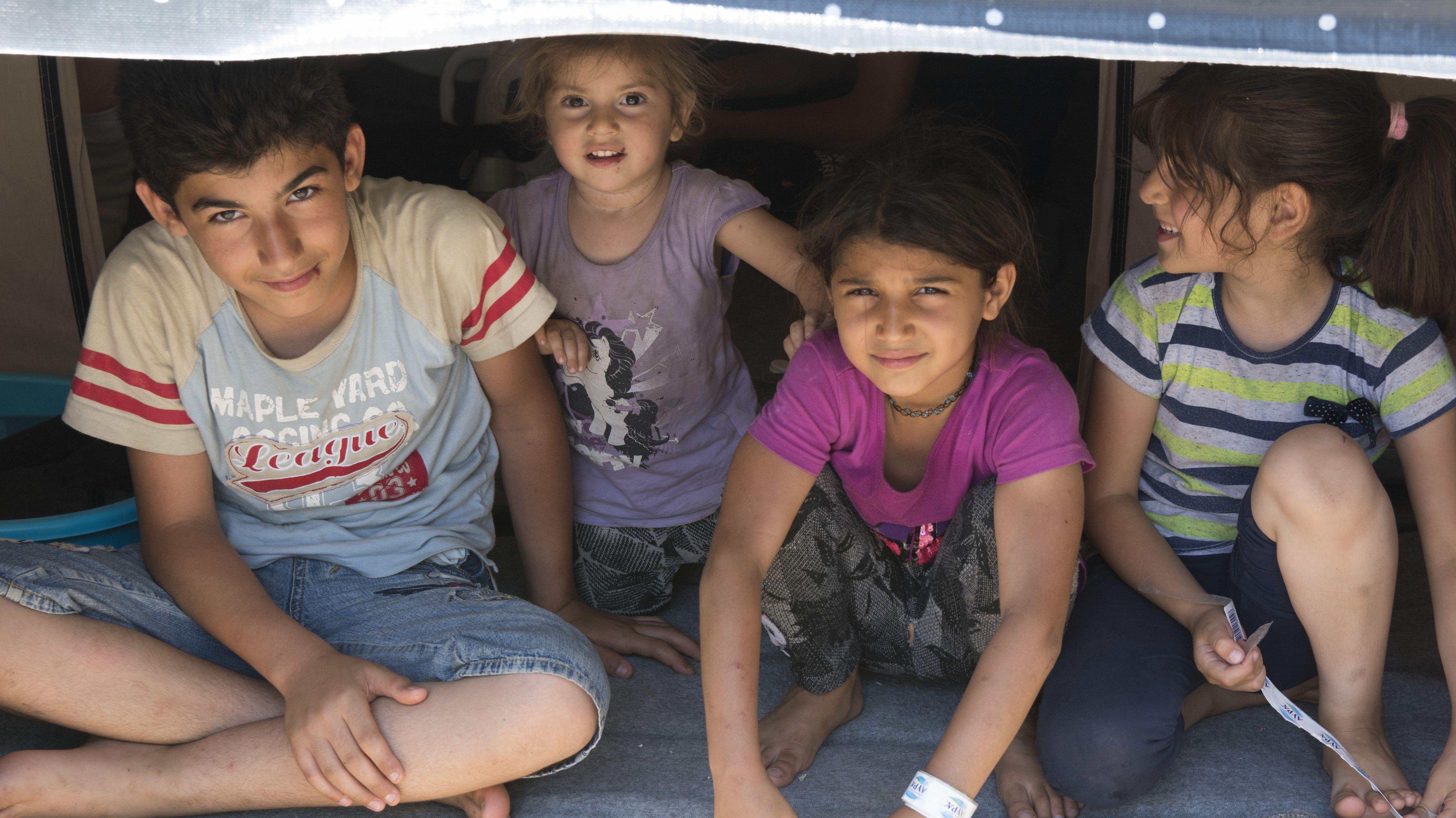 Kinder im Flüchtlingslager Moria auf Lesbos