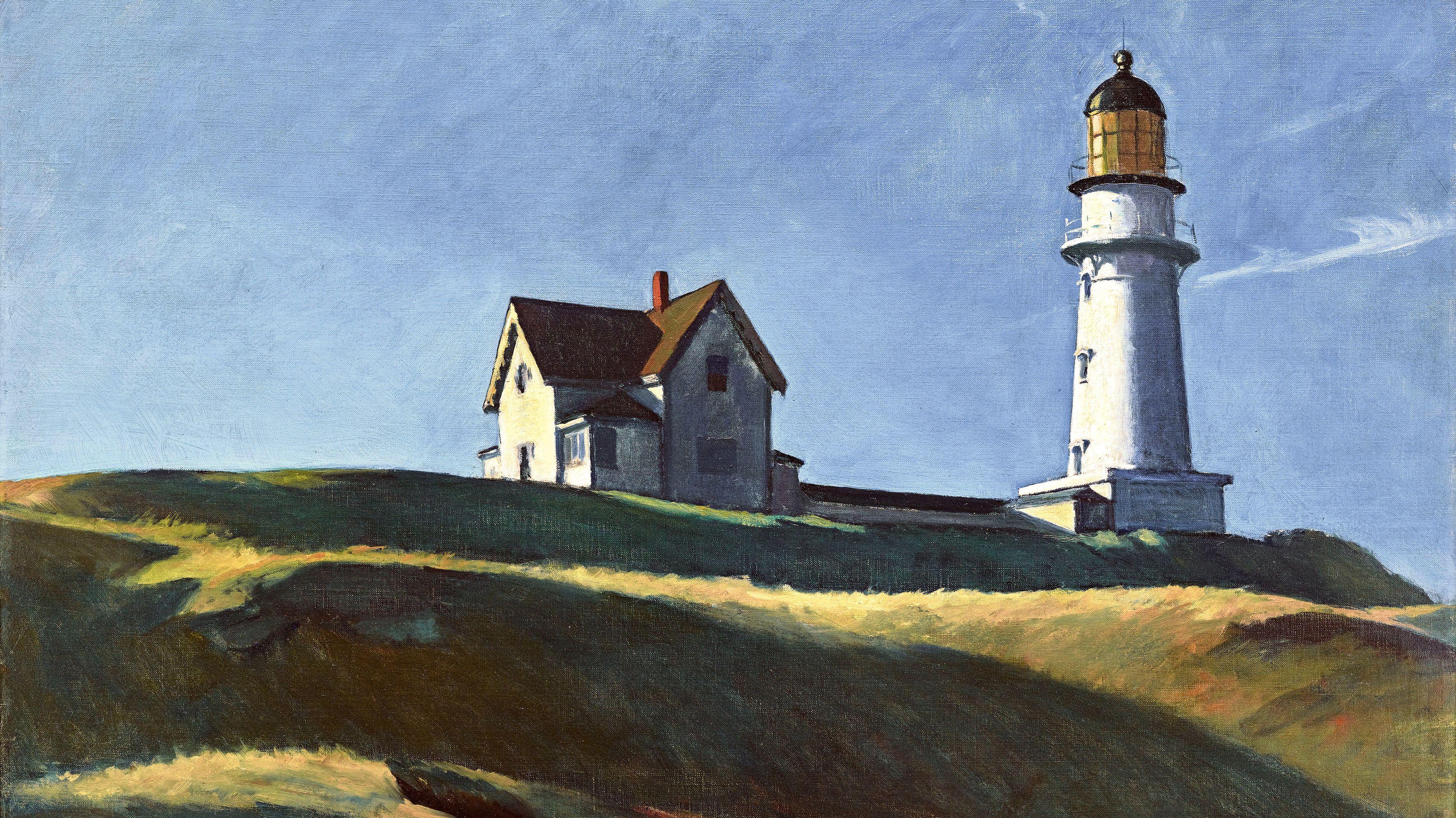 """""""Lighthouse Hill"""": Gemälde von Edward Hopper (1927): Blick von unten auf einen Hügel mit Haus und Leuchtturm"""