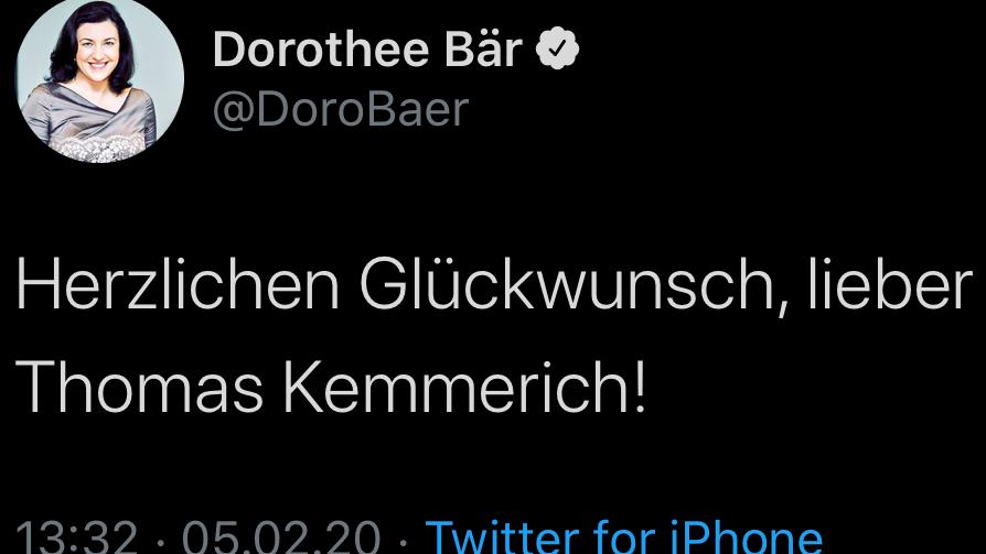 Auf Twitter hatte Dorothee Bär Thomas Kemmerich zur Wahl gratuliert.