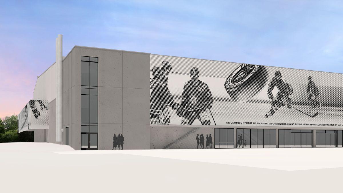 Einer der Entwürfe zur Textilfassade des Landshuter Eisstadions