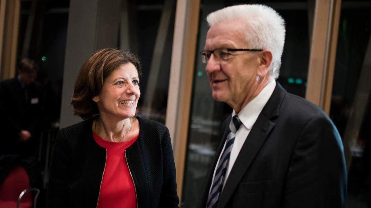Die Wahlsieger des gestrigen Abends: Malu Dreyer (SPD) in Rheinland-Pfalz und Winfried Kretschmann (Grüne) in Baden-Württemberg.