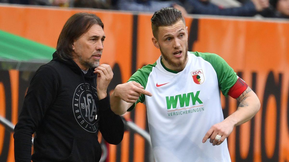 FCA-Coach Martin Schmidt mit Profi Jeffrey Gouweleeuw