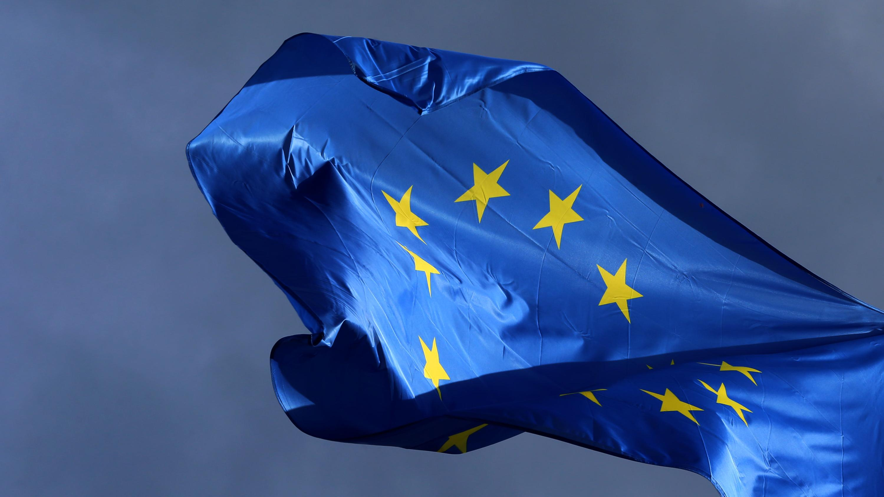 EU-Flagge flattert im Wind