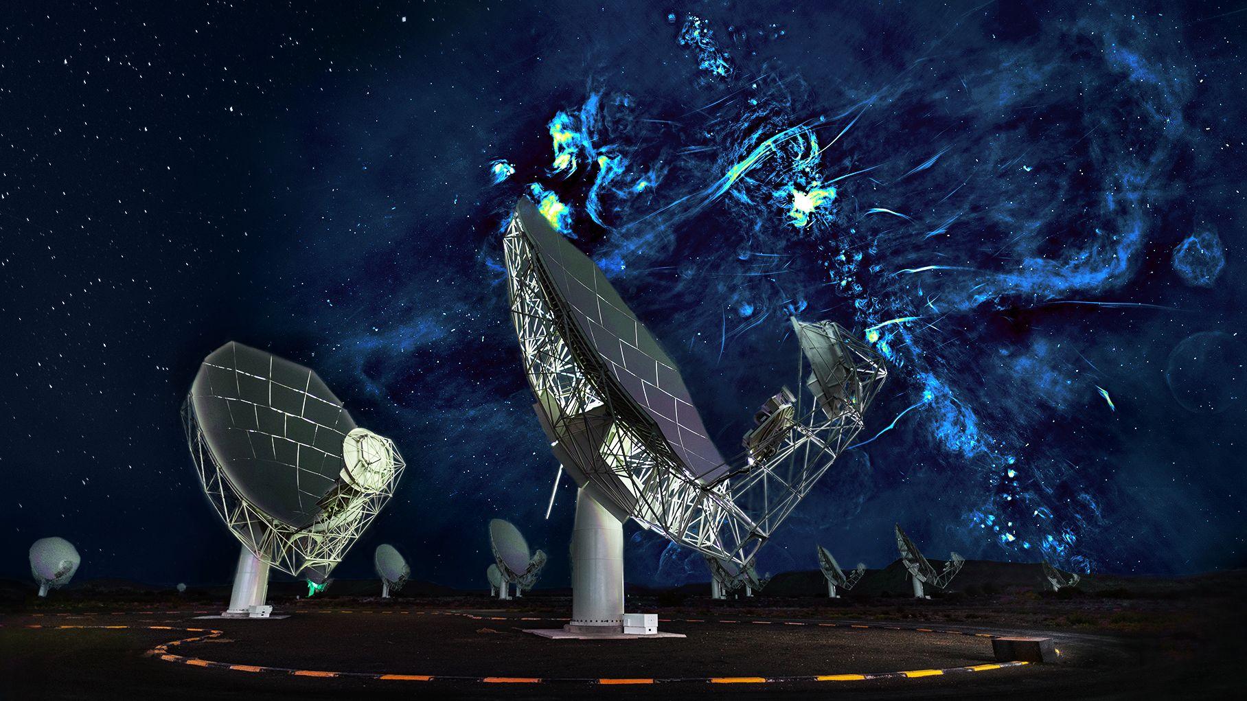 Eine zusammengesetzte Aufnahme des MeerKAT-Radioteleskops: Das Schwarze Loch in der Mitte der Milchstraße ist in der hellsten Region verborgen.