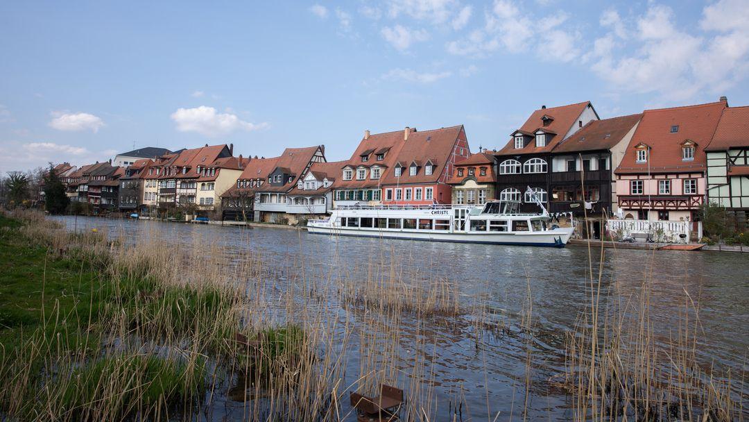 Häuser an der Regnitz in Bamberg.