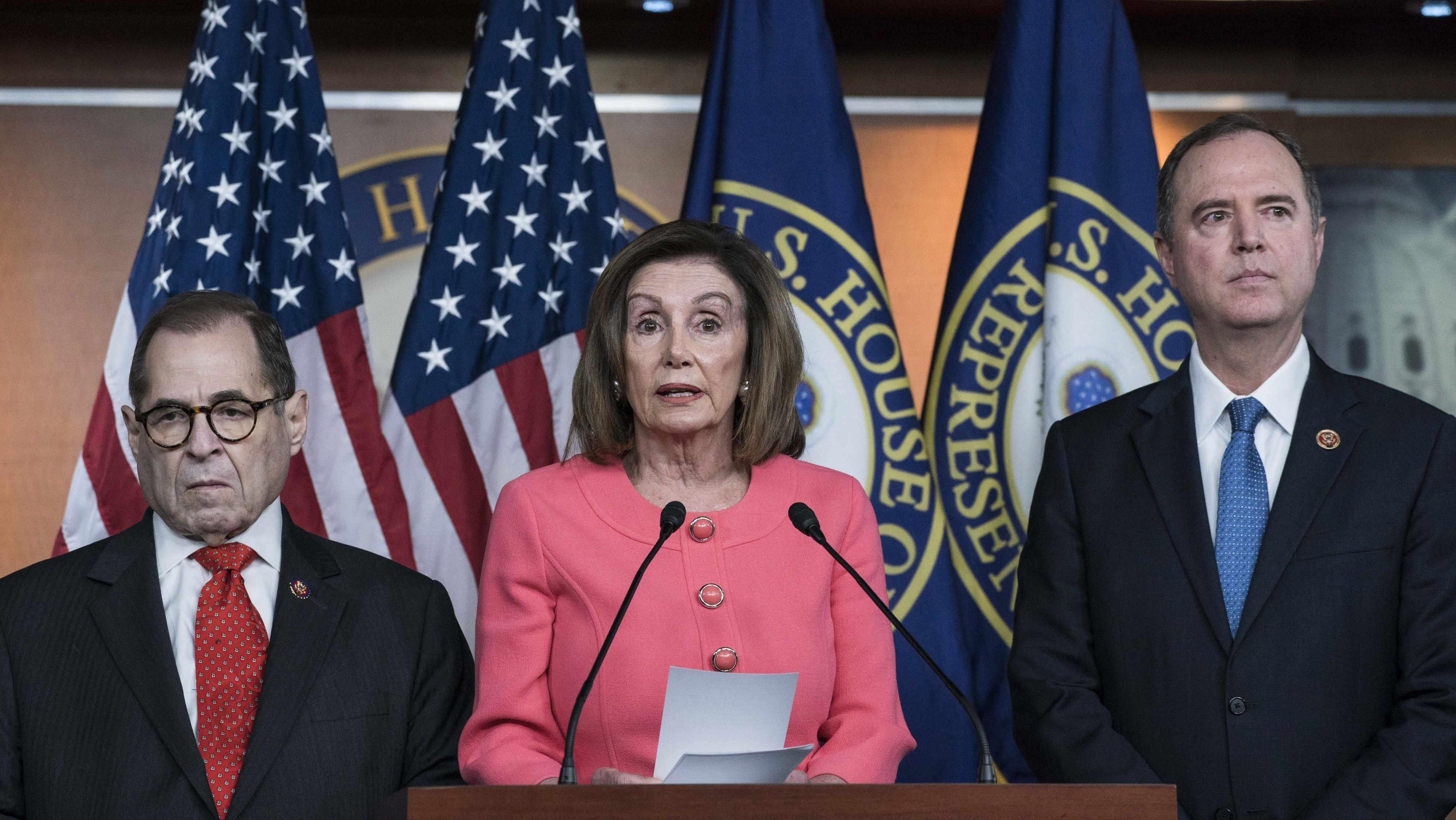 Die US-Demokraten Jerry Nadler, Nancy Peloswi und Adam Schiff