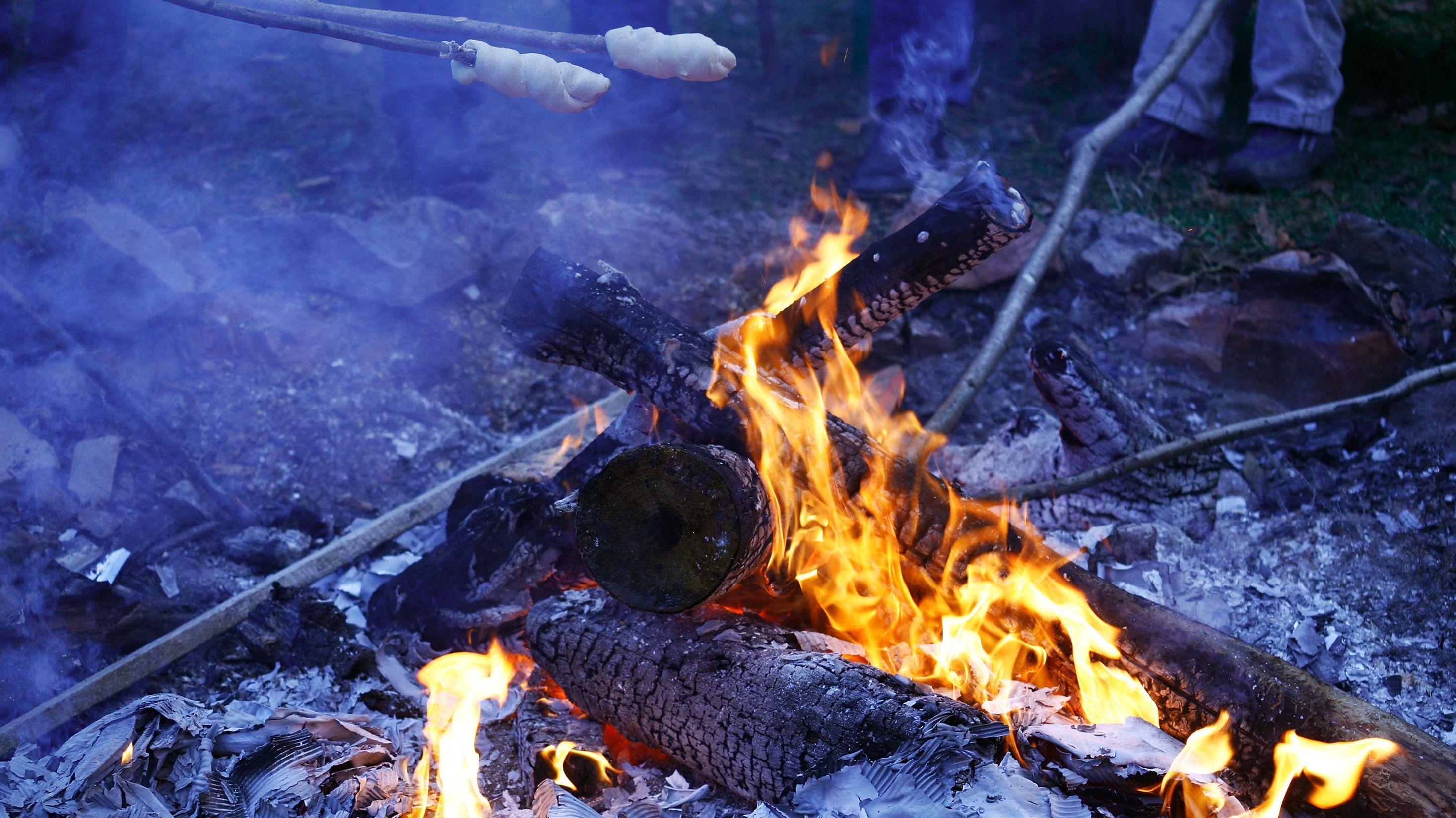 Kinder backen Stockbrot am offenen Feuer