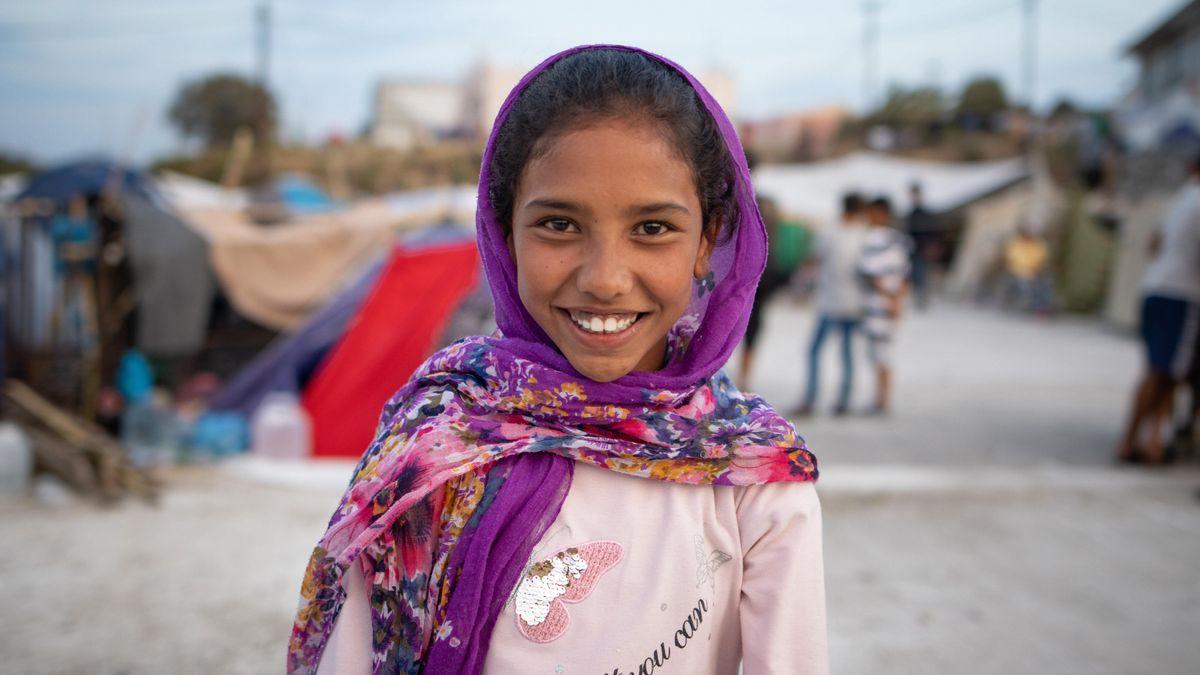 Mädchen, dass nach dem Brand im Flüchtlingslager Moria geflohen ist (Symbolbild)