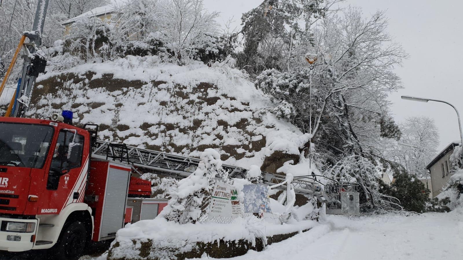 Viel zu tun hat die Feuerwehr in Landshut: Hier besteht weiterhin Schneebruchgefahr.