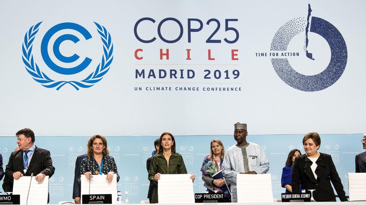 Petteri Taalas, Teresa Ribera, Carolina Schmidt, Tijjani Muhammad-Bande und Patricia Espinosa auf der Weltklimakonferenz 2019